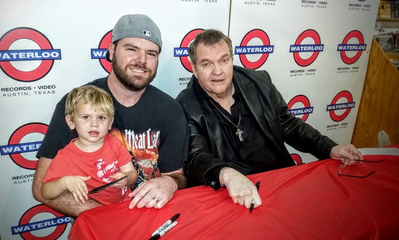 Johnny Glanzer, Ryan Glanzer, and Meat Loaf get acquainted at Waterloo Records in downtown Austin, Texas on Thursday, August 4, 2016.