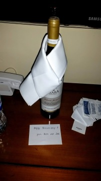 Greeted at our Berlin hotel with a bottle of wine from Mom and Dad.