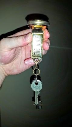 Big, heavy room keys at The Dude.