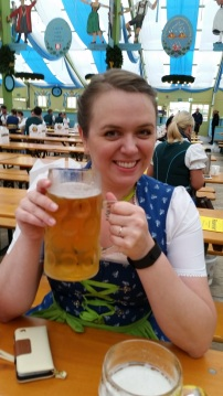 Big beer for Lauren at 9am.